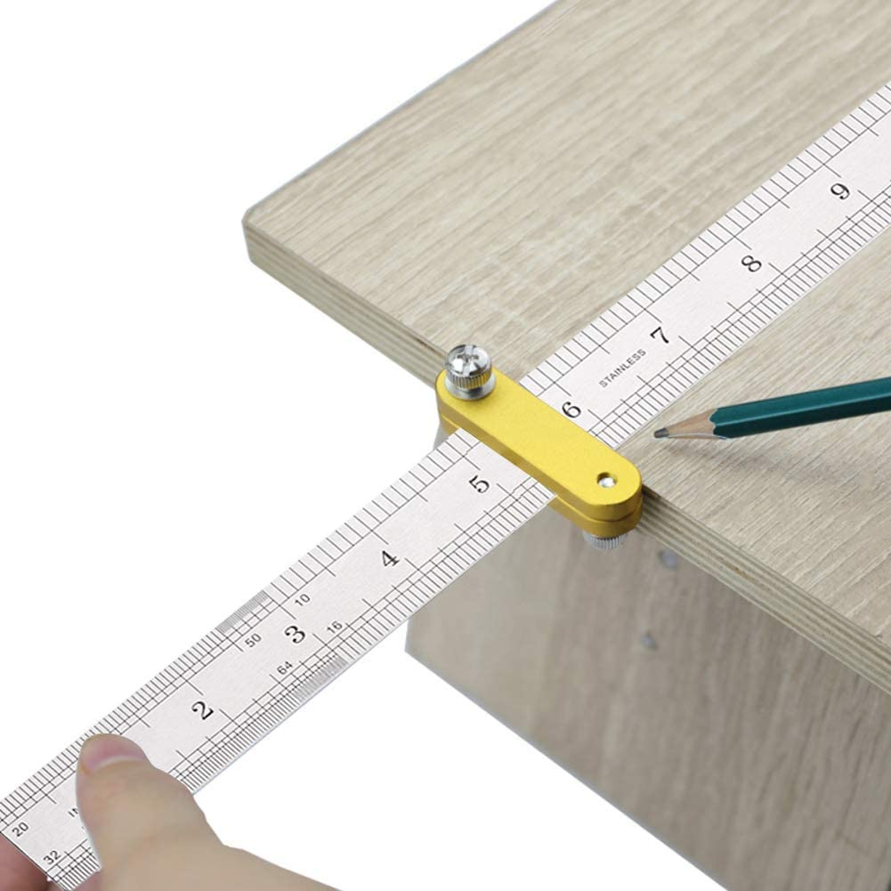 Edelstahl Lineal 30cm,Anreisswerkzeug mit extra stabilem Lineal,Paralleles Lineal f/ür die Holzbearbeitung,Stahllineal Positionierblock T-Lineal Holzbearbeitungswerkzeug