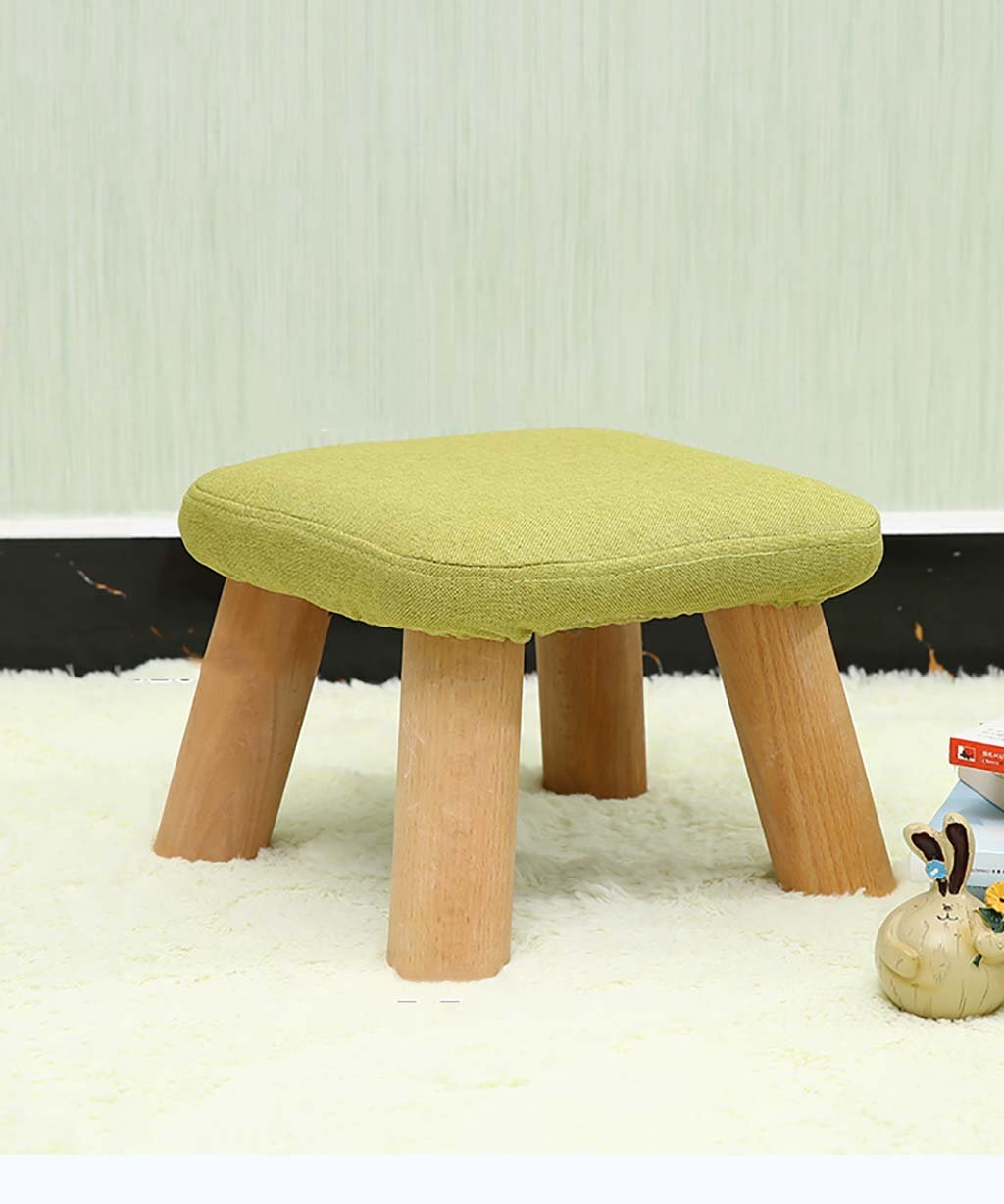 Green Footstools, Stool Square Wooden Footrest Padded Sofa Bench 4 Legs (color   Purple)
