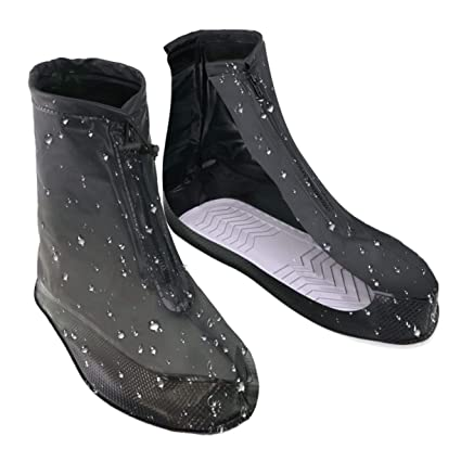 d613a2b81ae5f VXAR Shoes Covers Rain Snow Boots Waterproof Reusable Anti-Slip Foldable  Thicken Sole Overshoes Galoshes Women Men(Black1 XXL-W/9.5-10.5,M/7.5-8.5)