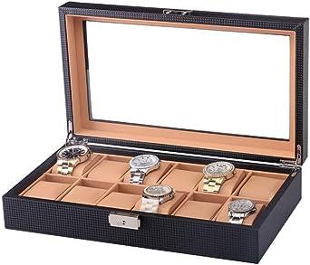 Caja De Relojes, 12 Compartimentos, Estuche para Relojes con Tapa De Cristal, Almohadas Extraíbles, Reloj Caja De Almacenamiento, Negro: Amazon.es: Relojes