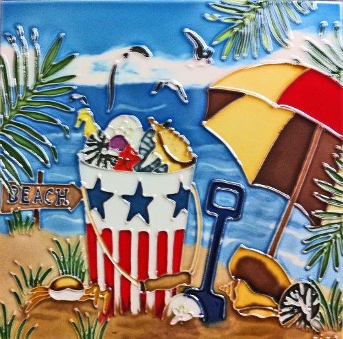 continental-art-center-bd-0715-8-by-8-inch-beach-umbrella-and-sea-shell-buckle-ceramic-art-tile