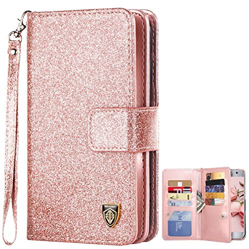 Galaxy S7 Case, S7 Wallet Case, BENTOBEN Folio Flip Faux Leather Wallet Case Credit Card Slots Cash Holder Wristlet Cover Magnetic Snap Closure Protective Case for Samsung Galaxy S7, Rose Gold/Pink