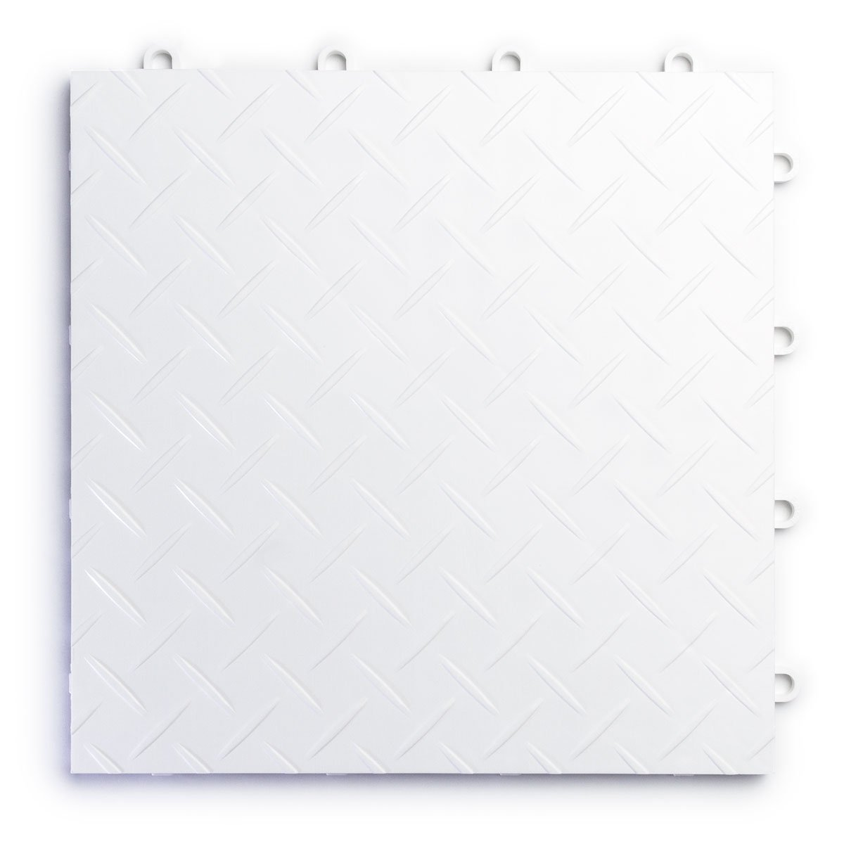 RaceDeck Diamond Plate Design, Durable Interlocking Modular Garage Flooring Tile (12 Pack), White by RaceDeck (Image #1)