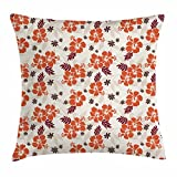 Ambesonne Hawaii Throw Pillow Cushion Cover, Abstract Aloha State Floral Pattern Hibiscus Spring Holiday Theme Design, Decorative Square Accent Pillow Case, 36 X 36 inches, Orange Ruby Dark Taupe