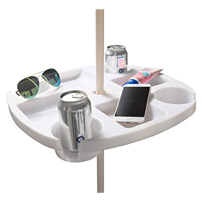 #WEJOY Portable Beach Umbrella Table Tray with 4 Cup Holders, 4 Snack Compartments for Patio, Garden, Swimming Pool (Plastic, 16.8 Inch, White) : Garden & Outdoor
