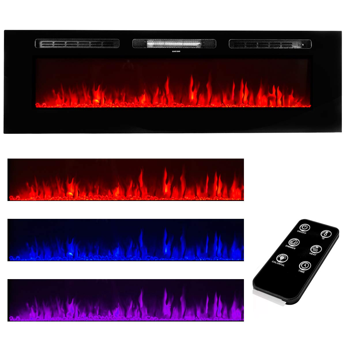 XtremepowerUS 60 Large Recessed Electric Fireplace Wall Mounted Electric Insert Heater Fireplace Color Flame Remote Control, 1500W
