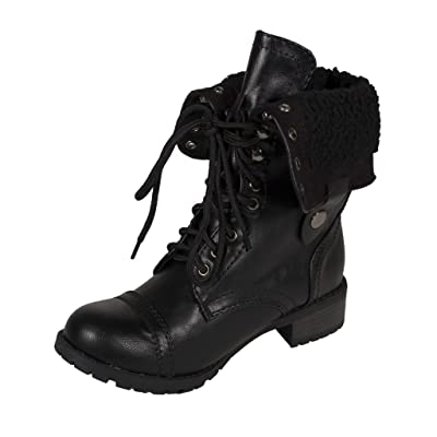 Lustacious Women's Mid-Calf Lace Up Military Combat Foldable Faux Shearling Fur Boots