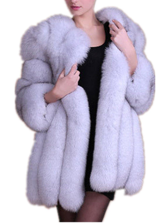 Women Winter Faux Fox Fur Coat Overcoat Warm Middle Length Outwear Racheljp