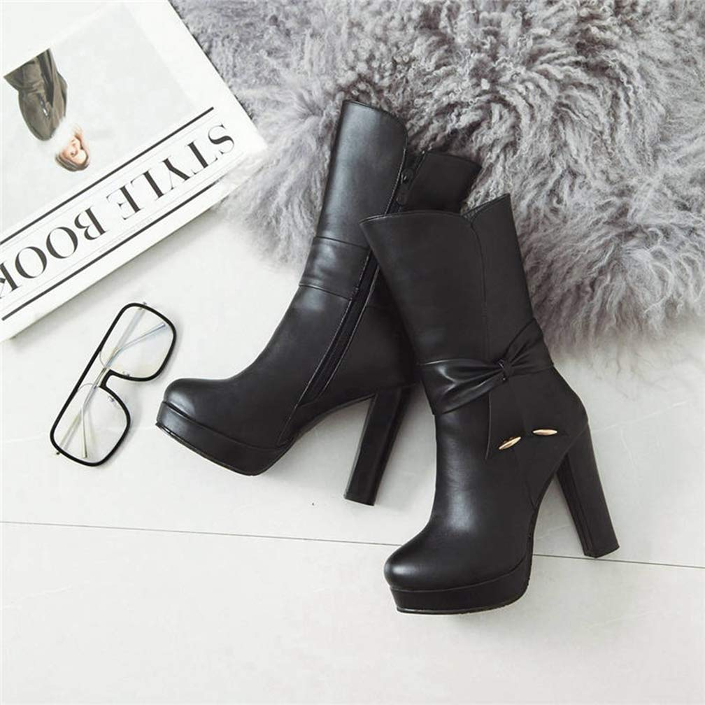 Hoxekle Fashion Shoes Woman Round Toe Autumn Winter Boots Sweet Bowknot Platform Boots Elegant Mid Calf Boots