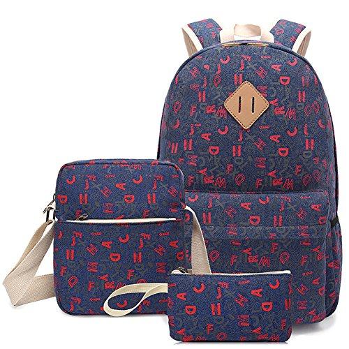 Bolsa de Lona Mochilas Escolares Set de 3 Piezas Mochila + Bolso de Bandolera + Billetera Para Niñas Adolescentes Azul Claro: Amazon.es: Equipaje