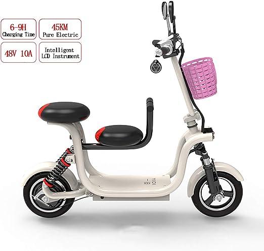 PXQ Adulto Plegable Bicicleta eléctrica 400W 48V Alta Potencia E-Bike con 10 Pulgadas de la llanta y el niño Sentado, Frenos de Disco Doble Velocidad máxima 37km/h City Commuter Bike,White,10A: Amazon.es: Hogar