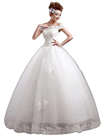 JJ GOGO Womens Off The Shoulder Lace Bridal Ball Gown Floor Length Wedding Dress
