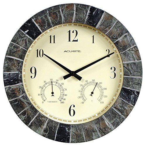 AcuRite Faux 14 in. Slate Clock Combo with Thermometer and Hygrometer