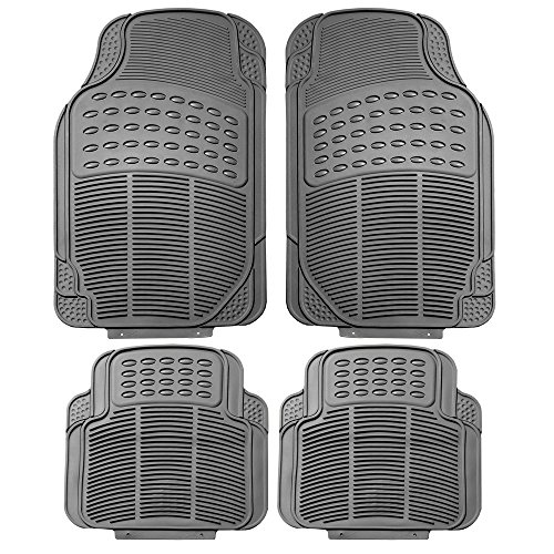 Gray All Weather Floor Mat, 4 Piece (Full Set Trimmable Heavy Duty) ()