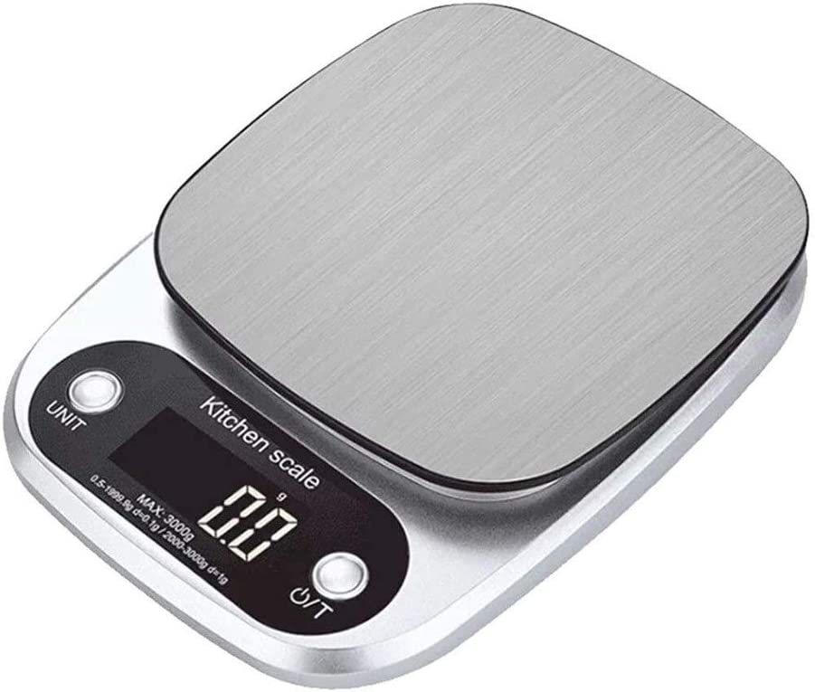 WSWJ Digital Kitchen Weighing Scales, Stainless Steel Ultra Slim Cooking Scales Portable Travel Food Scale LCD Display Compact Storage Easy Clean 914 (Size : 10kg/1g)