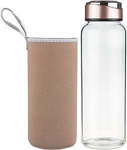 SHBRIFA Botella de Agua de Vidrio de Borosilicato 1000ml / 1500ml, Botella de Agua de Cristal con Funda de Neopreno y Tapa de Acero Inoxidable a Prueba de Fugas(1000ml Oro)