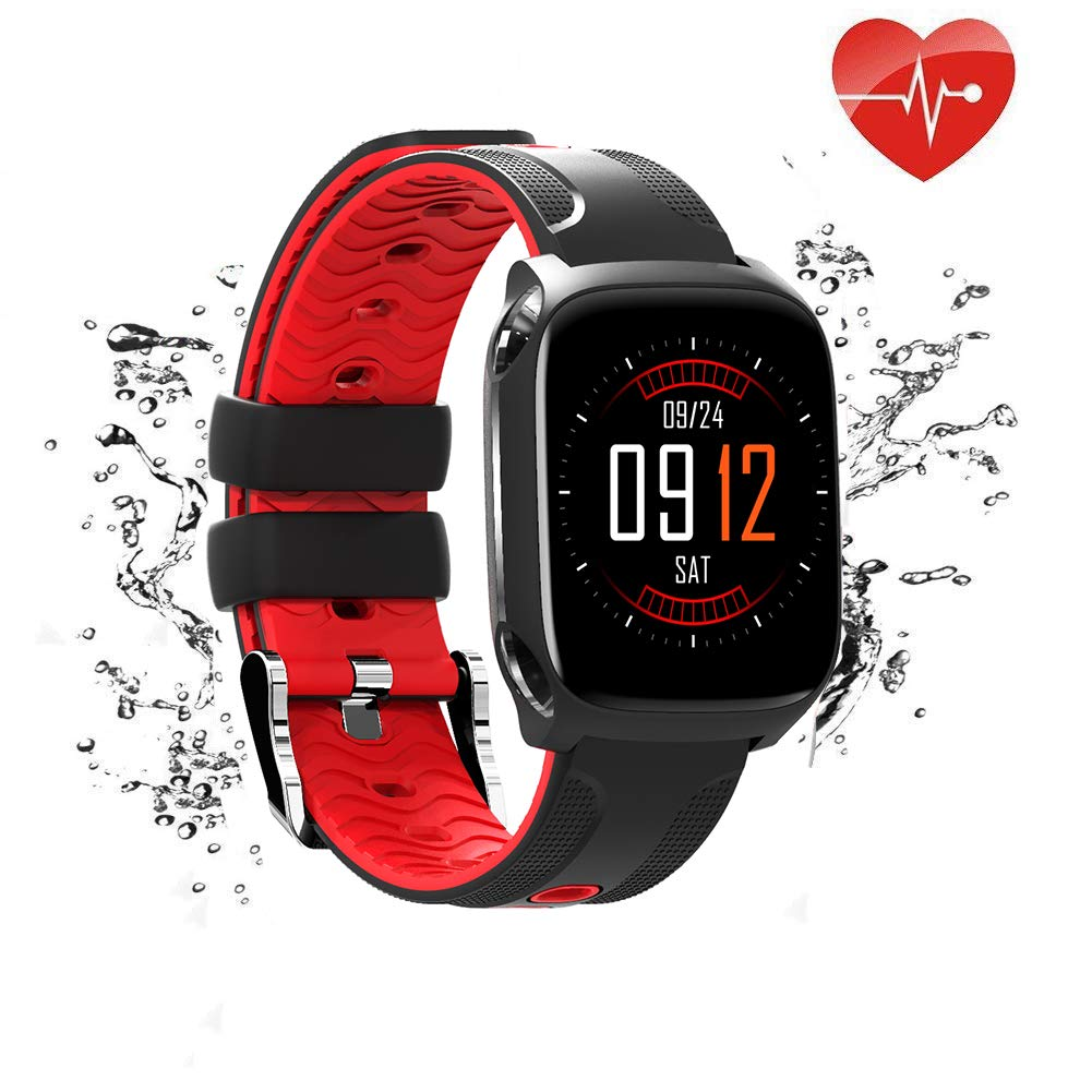 Big Color Screen Fitness Tracker with Heart Rate Monitor Blood Pressure Blood Oxygen, Waterproof Activity Tracker Watch with Pedometer, Sleep Monitor, Smart Watch for Men, Women and Kids(Red)