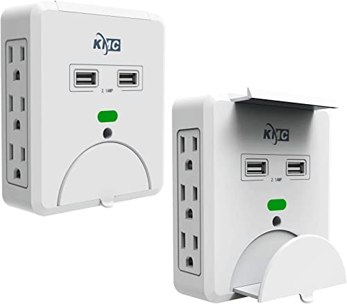 KMC 6-Outlet Wall Mount Surge Protector with 2 USB Charging Ports 2.1 AMP , 2-Pack