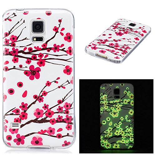 Galaxy S5 Case, Firefish Night-luminous Glow In The Dark Fluorescence Soft Gel Anti Skiding Silicone Cell Phone Back Cover for Samsung Galaxy S5-Deer-A (Mobile Phone Back Cover)