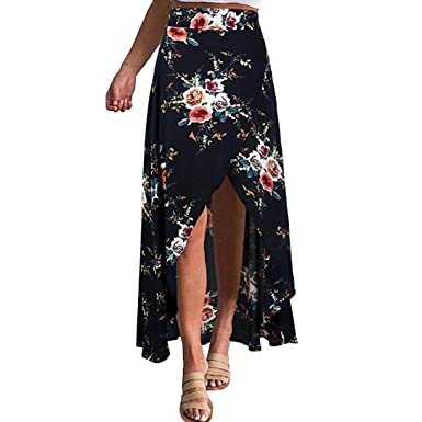 e9175d2115 Elogoog Women's Casual Summer Boho Floral Print Chiffon High Waist Side  Spilt Beach Wrap Long Maxi