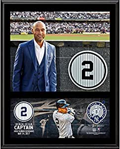 "Derek Jeter New York Yankees Framed 12"" x 15"" Jersey Retirement Sublimated Plaque - Fanatics Authentic Certified"
