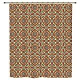 iPrint Shower Curtain,Arabian,Colorful and Geometric Patterns with Persian Ethnic Art Elements Eastern Bohemian Decorative,Multicolor,Polyester Shower Curtains Bathroom Decor Sets with Hooks