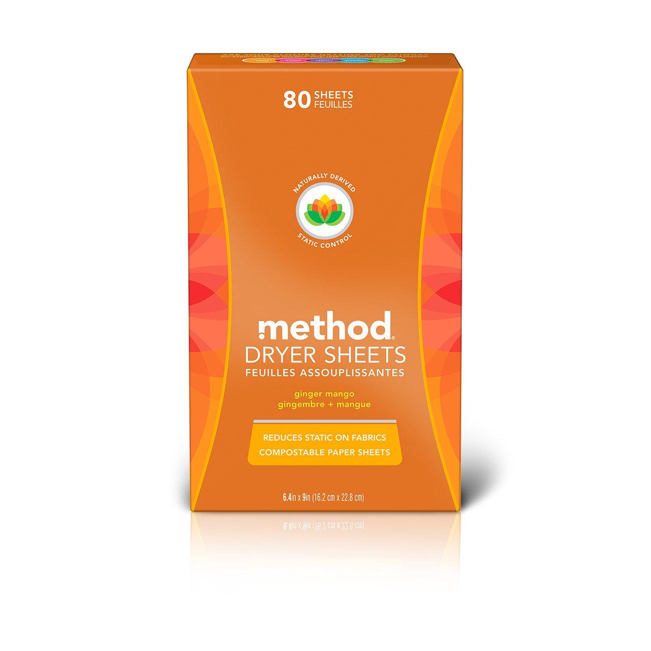 Method Dryer Sheets, Ginger Mango, 80 Sheets