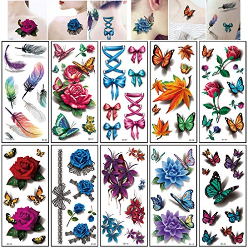 Body Art Temporary Tattoos for Women 10 Sheets Fake Tattoo 3D Stereo Effect Flower Rose Butterfly Feather Waterproof Color Tattoos