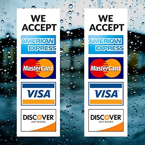 Credit Card Vinyl Sticker Decal - 2 PACK - We Accept - Visa, MasterCard, Amex and Discover - 9