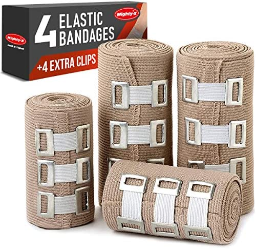 Premium Elastic Bandage Wrap - 4 Pack + 4 Extra Clips - Durable Compression Bandage (2x - 3 inch, 2x - 4 inch Rolls) Stretches as much as 15ft in Length