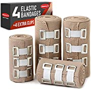 Premium Elastic Bandage Wrap – 4 Pack + 4 Extra Clips – Durable Compression Bandage (2X – 3 inch, 2X – 4 inch Rolls…