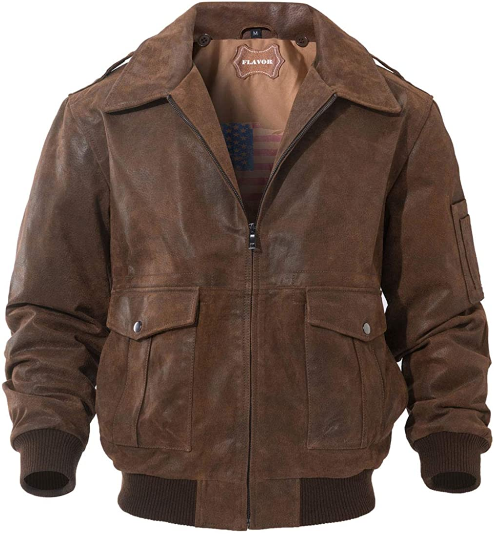 60s , 70s Hippie Clothes for Men FLAVOR Mens Leather Flight Bomber Jacket Air Force Aviator $169.99 AT vintagedancer.com