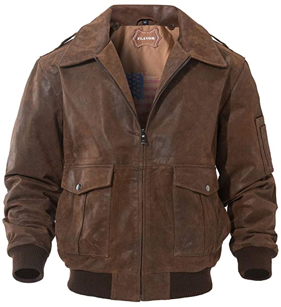 FLAVOR Mens Leather Flight Bomber Jacket Air Force Aviator