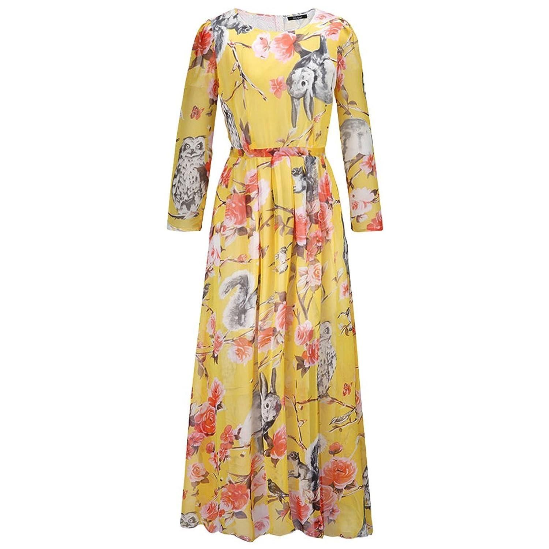 Partiss Damen Frauen Blumen Floral Langarm Maxi Plus Size U-Ausschnitt Sommer Chiffon Kleid Dress