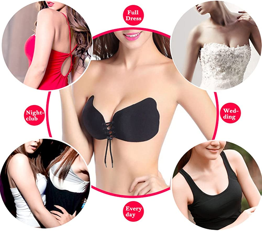 YANXEN Silicone Gel Invisible Bra Strapless Backless Adhesive Breast Lift Bra Cup Sizes XS To 7XL Size 4XL,Black