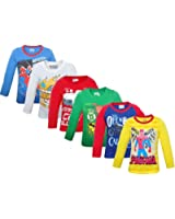 Devil Full Sleeves Assorted Print And Colour Tshirt Combo - Pack Of 6