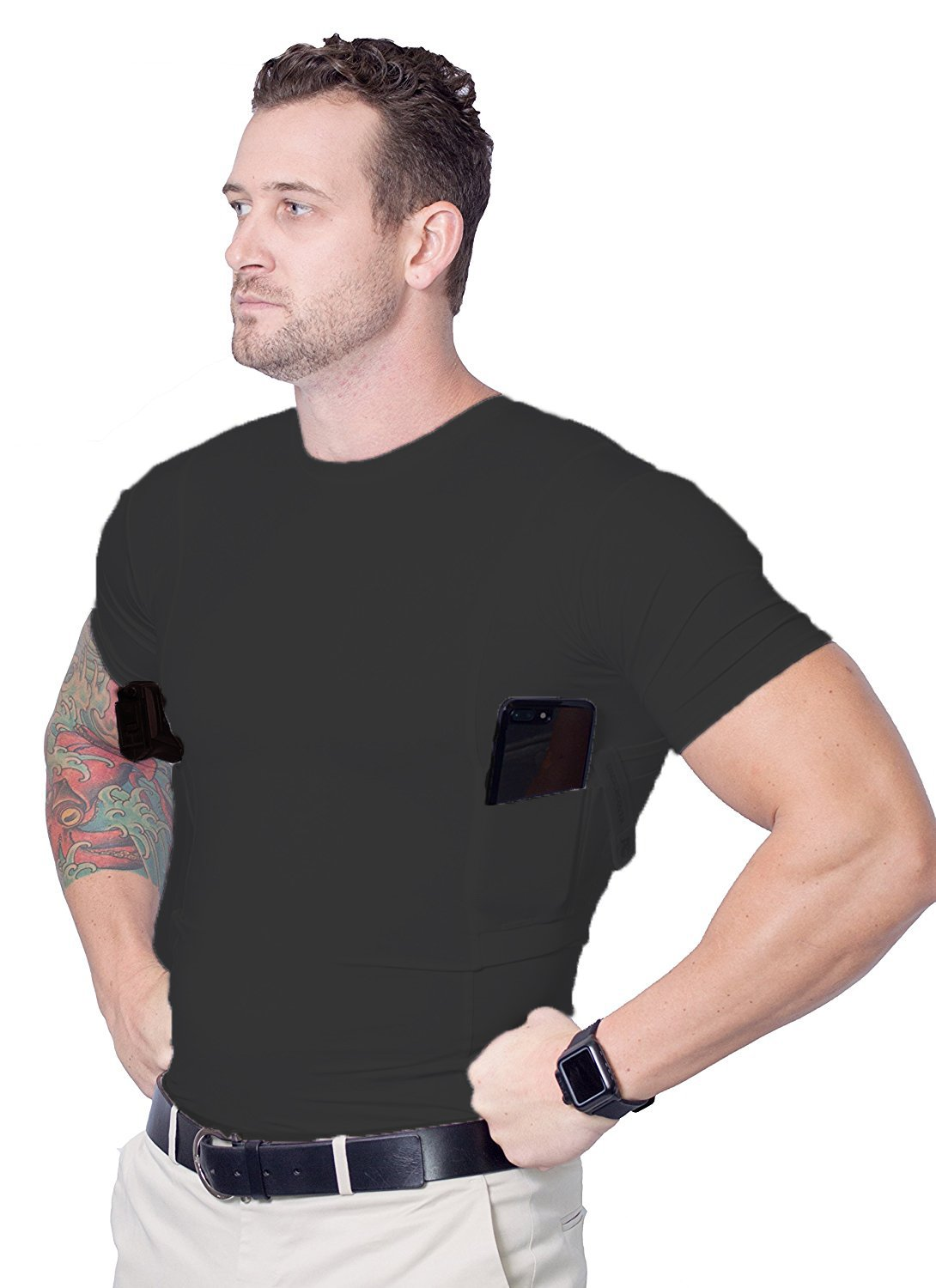 AC Undercover Concealed Carry Crew Neck Tshirt/CCW Tactical Clothing/Concealed Clothing REF. 511 (Black) (Black 3-Pack, Medium) by AC Undercover (Image #2)