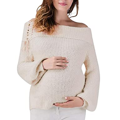 9fe91fd43 Voberry Women Maternity Pregnancy Knitted Sweater Tops Lace Up Wrap  Knitting Sweater Dress  Amazon.in  Clothing   Accessories