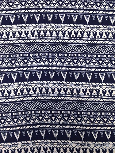 Navy Blue Tribal Pattern on Non-Stretch Lightweight Woven Cotton Fabric By the Yard - Polyester Woven Fabric