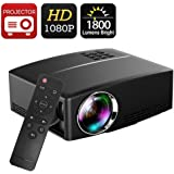 """Projector DIWUER Video Projectors 1800 Luminous 180"""" LED Mini Movie Projector 1080P Full HD Portable Multimedia Projector for Home Cinema Theater Entertainment"""