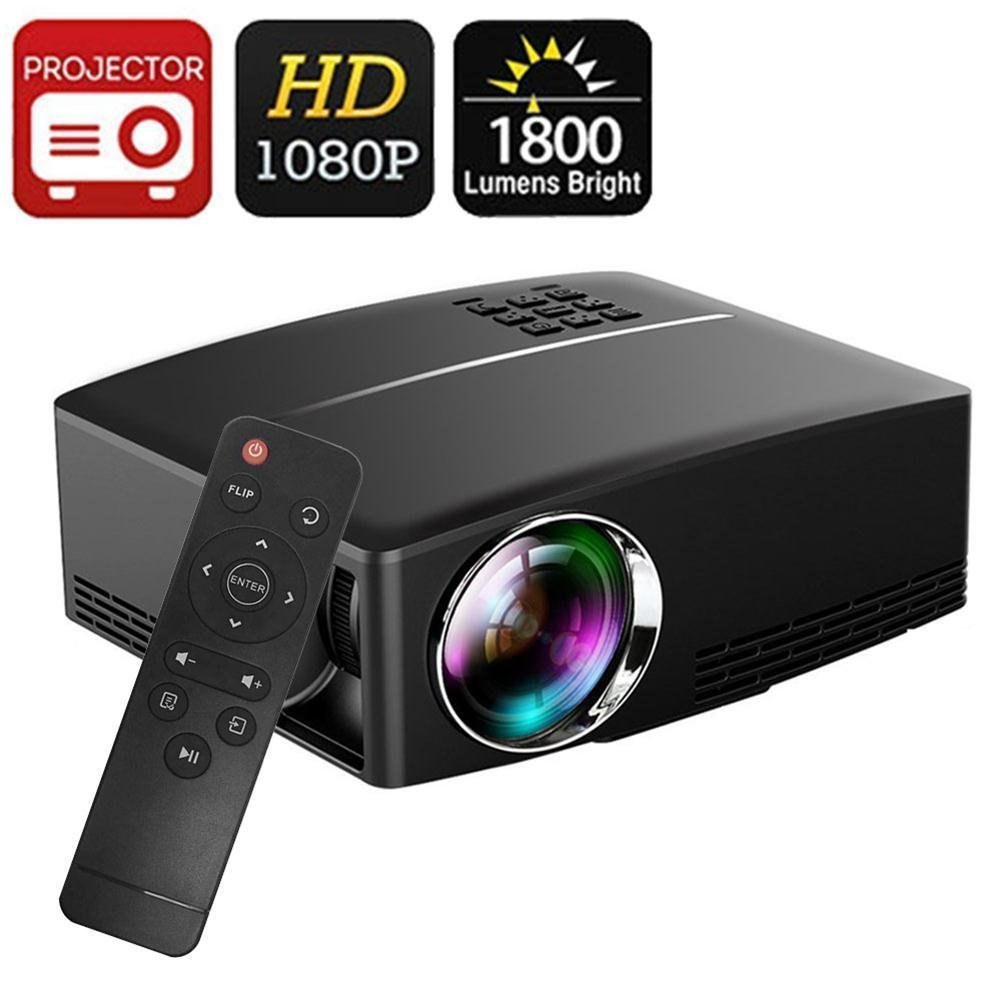 Projector DIWUER Video Projectors 1800 Luminous 180'' LED Mini Movie Projector 1080P Full HD Portable Multimedia Projector for Home Cinema Theater Entertainment by DIWUER