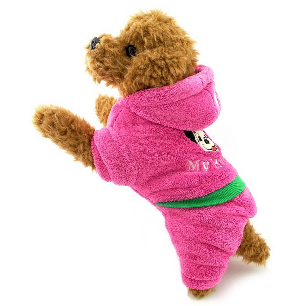 ZUNEA Thick Hooded Small Dog Winter Snowsuit Padded,Puppy Jumpsuit Hoodie Coat Fleece Pet Warm Jacket Pajamas Outwear Cotton Outfits Chihuahua Clothes Apparel Pink L
