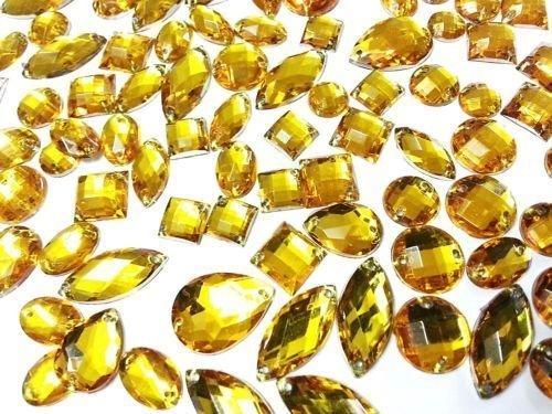 (CraftbuddyUS Gold 80 Faceted Acrylic Sew On, Stick on Diamante Crystal Rhinestone Gems)
