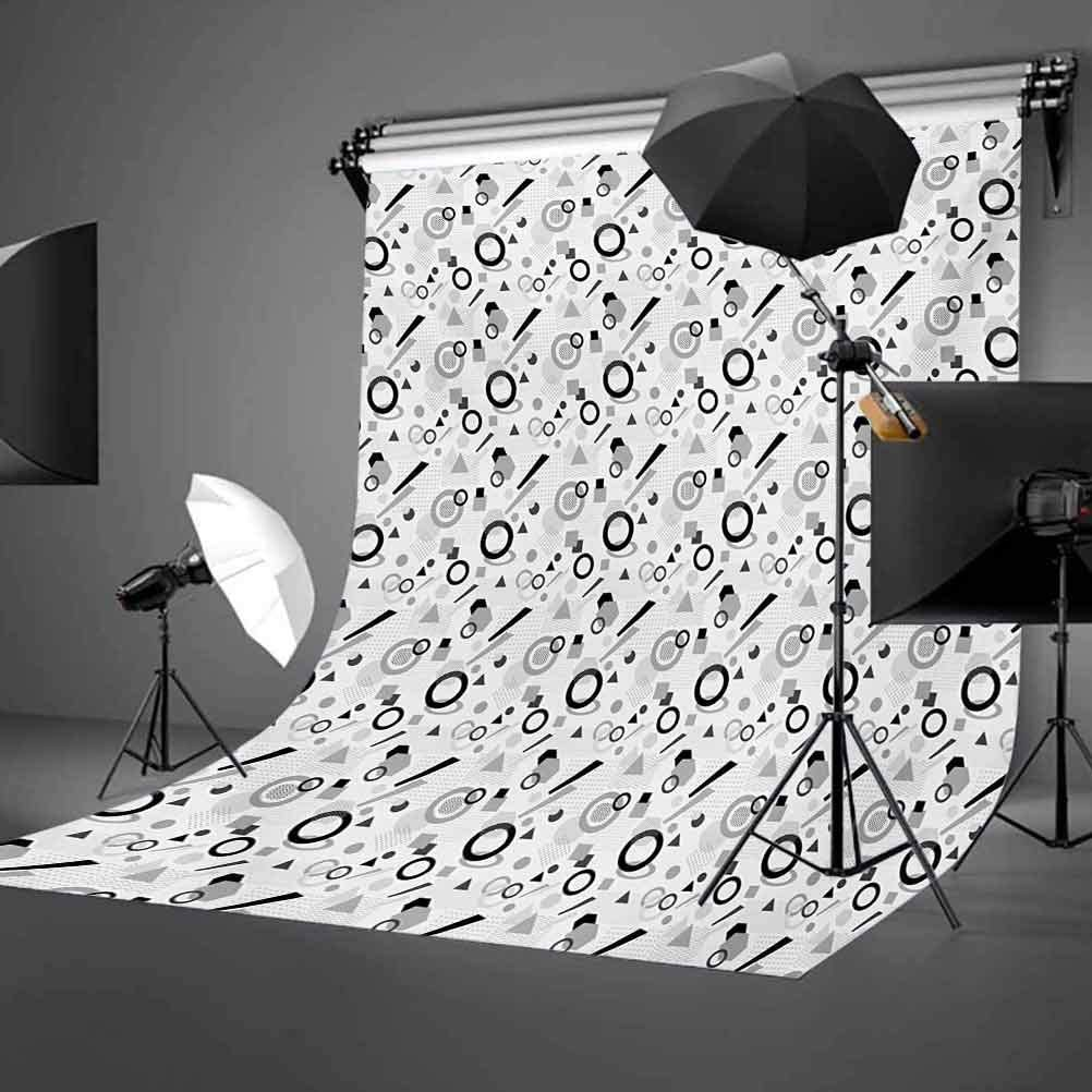 Geometric 10x12 FT Backdrop Photographers,Pattern in Postmodern Memphis Style Different Shapes Scattered on White Background for Child Baby Shower Photo Vinyl Studio Prop Photobooth Photoshoot