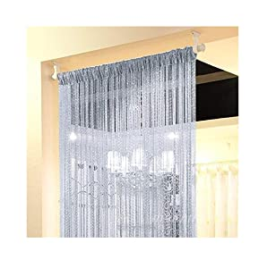 Eyotool 1x2 M Door String Curtain Rare Flat Silver Ribbon Thread Fringe Window Panel Room Divider Cute Strip Tassel for Wedding Coffee House Restaurant Parts, Grey