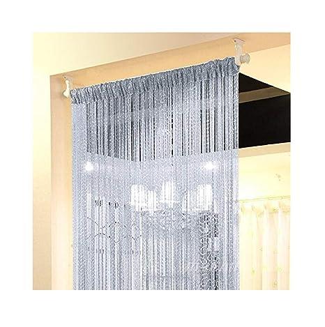 Eyotool 1x2 M Door String Curtain Rare Flat Silver Ribbon Thread Fringe Window Panel Room Divider Cute Strip Tassel For Wedding Coffee House Restaurant Parts, Grey by Eyotool