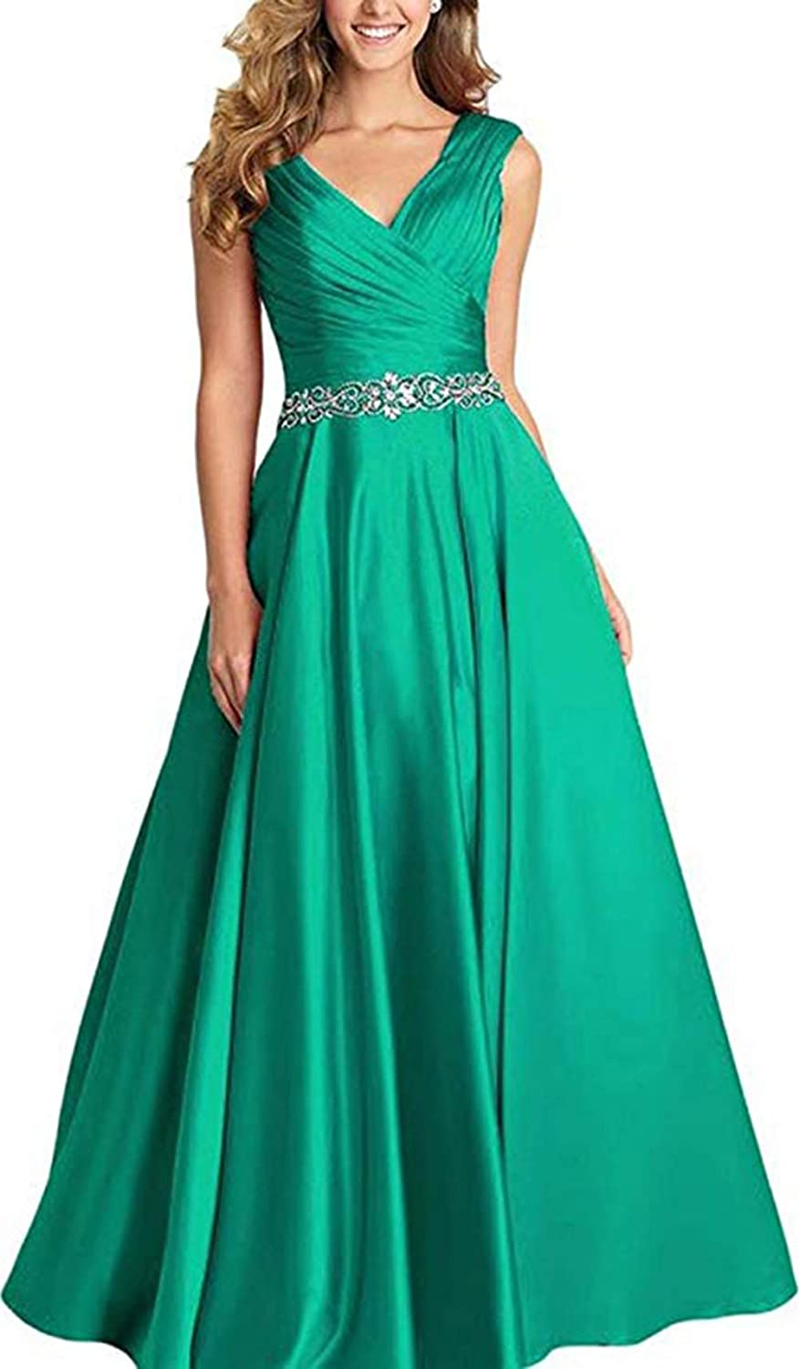 Emerald Green Ri Yun Women's V Neck Pleated Beaded Prom Dresses Long 2019 Satin Aline Formal Evening Ball Gowns with Pockets