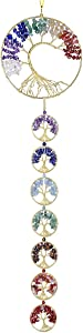 SUNYIK 7 Chakra Tree of Life Decorative Hanging Ornament for Home Office, Healing Crystal Wind Chimes Decoration for Outdoor Indoor, 7 Chakra