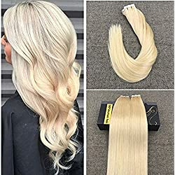 Ugeat 20 inch Seamless Tape in Human Hair Extensions Bleach Blonde Full Head Glue in Extensions Skin Weft Real Remy Hair 40pcs/100g