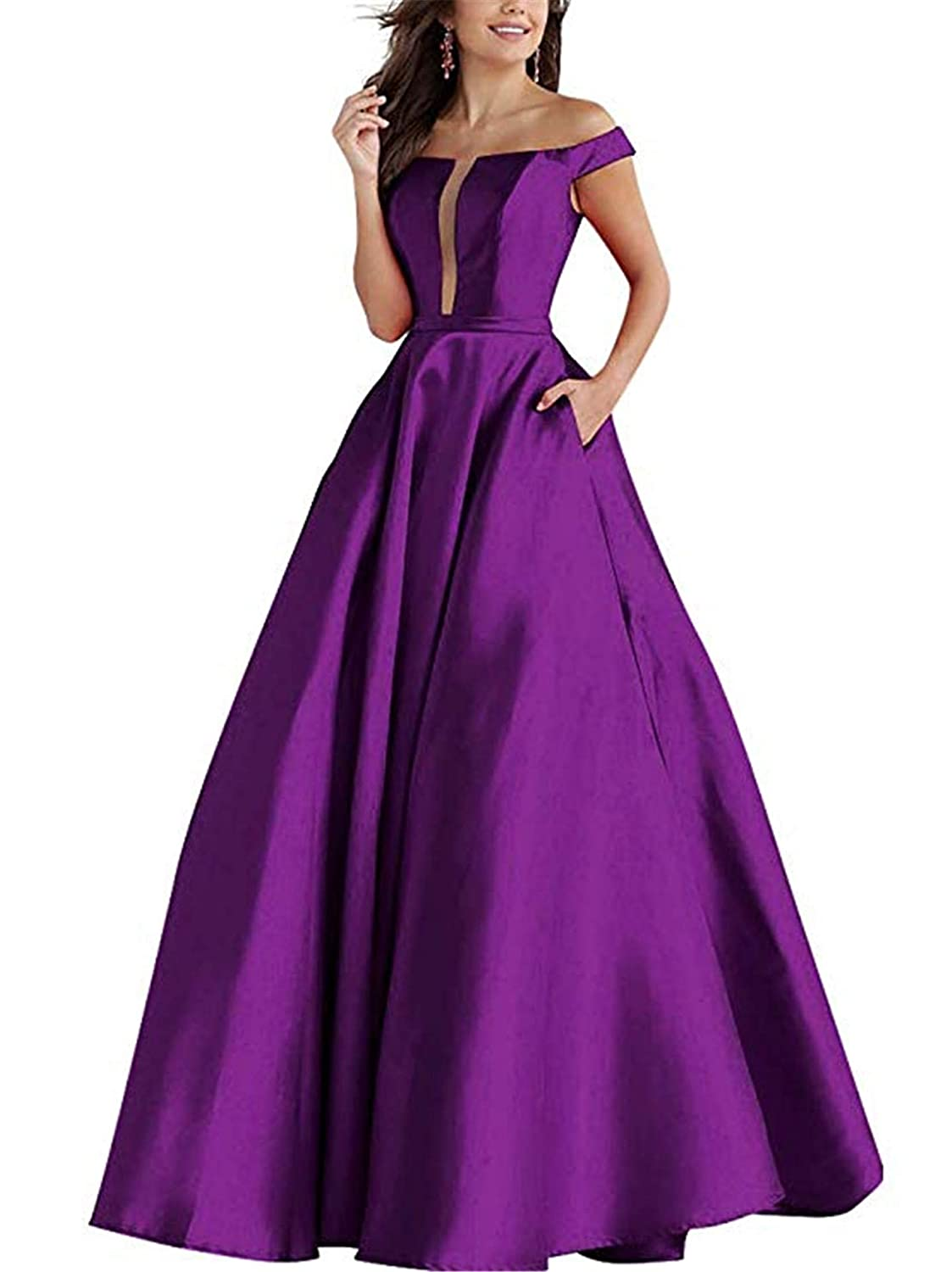 Purple QiJunGe Women's Off The Shoulder Satin Prom Dress A Line Evening Formal Gowns